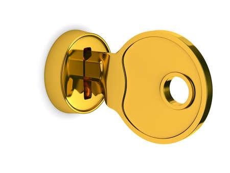 unauthorized: Isolated key and lock on white background. 3D image