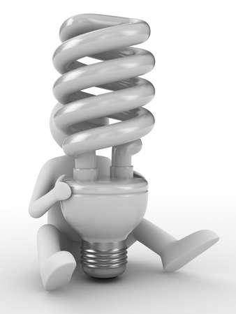 energy saving bulb on white background. Isolated 3D image photo