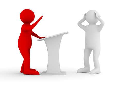 public speaking: man on tribune. Isolated 3D image on white