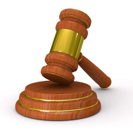 orden judicial: Martillo de subasta en blanco. Imagen aislados 3D