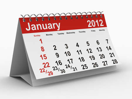 2012 year calendar. January. Isolated 3D image Stock Photo - 8517062