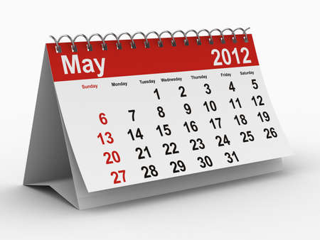 2012 year calendar. May. Isolated 3D image Stock Photo - 8517057