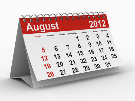 2012 year calendar. August. Isolated 3D image Stock Photo - 8517060