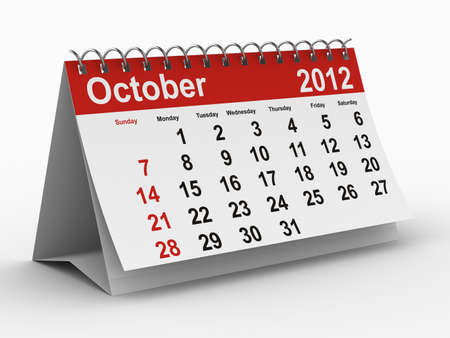 2012 year calendar. October. Isolated 3D image Stock Photo - 8517061