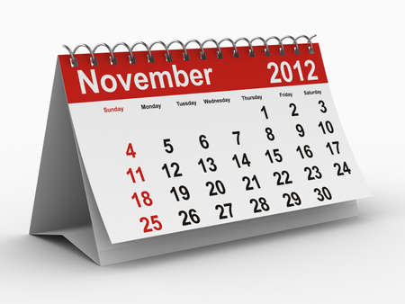 november 3d: 2012 year calendar. November. Isolated 3D image