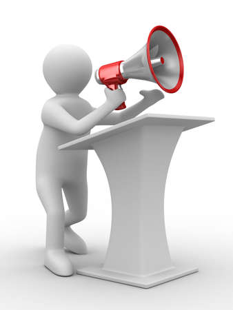 political rally: orator speaks in megaphone. Isolated 3D image Stock Photo