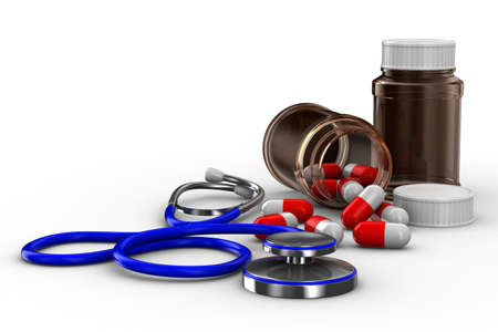 Stethoscope and pills on white background. Isolated 3D image photo