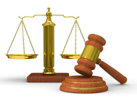 Scales justice and hammer on white background. Isolated 3D image Stock Photo - 8552431