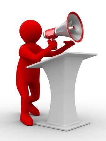 speaks: orator speaks in megaphone. Isolated 3D image Stock Photo