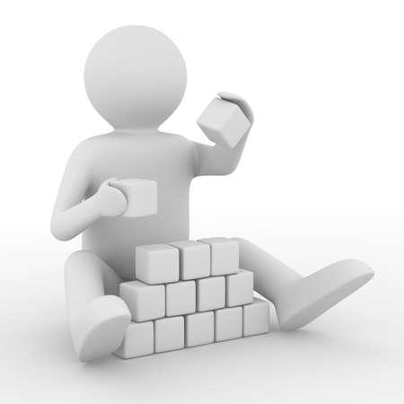 petit homme: enfant joue cubes sur fond blanc. Image 3D isol�