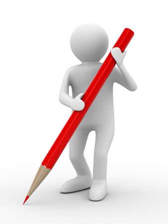 ołówek: CzÅ'owiek z Ołówek na biaÅ'ym tle. Izolowane obrazu 3D