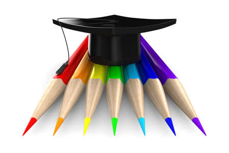 wooden hat: Set pencils on white background. Isolated 3D image Stock Photo