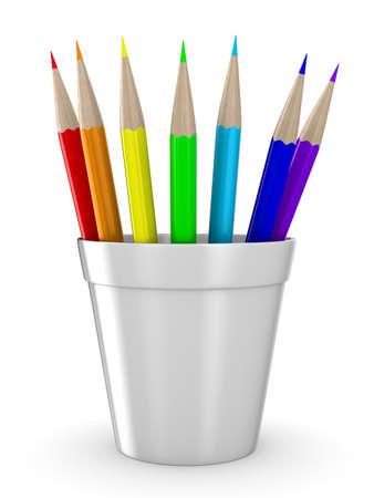 Set pencils on white background. Isolated 3D image photo