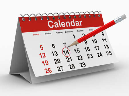 calendar day: calendar on white background. Isolated 3D image Stock Photo