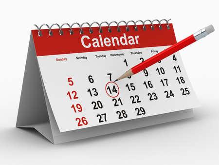 kalender op witte achtergrond. Geïsoleerde 3D beeld