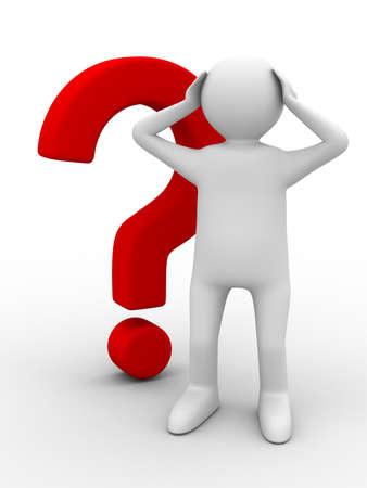 incertezza: uomo con la domanda su fondo bianco. Immagine 3D isolato