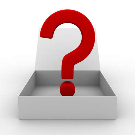 Open box with question. Isolated 3D image photo