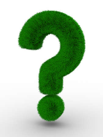 orthographic: Sign question from grass. Isolated 3D image