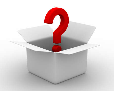 question mark background: Open box with question. Isolated 3D image