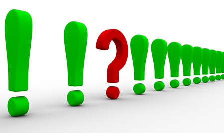whose: Question among exclamation marks. Isolated 3D image