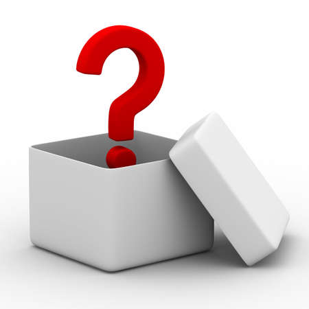 packing boxes: Open box with question. Isolated 3D image