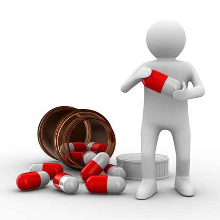 medicament: hombre con botella de tabletas. Imagen aislados 3D