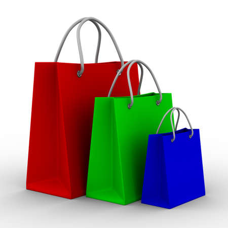 Three shoping bags on white. Isolated 3D image Stock Photo - 8629826