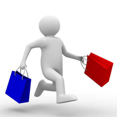 quickly: Man with shoping bag on white. Isolated 3D image