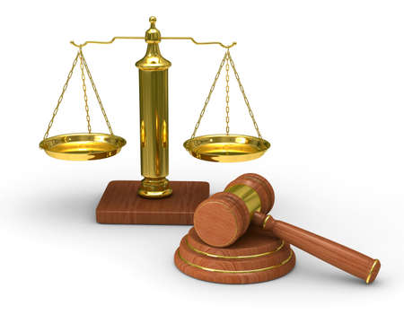 Schalen Justitie en hamer op witte achtergrond. Geïsoleerde 3D beeld