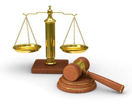 gerechtigkeit: Skalen Justiz und Hammer on white Background. Isolated 3D image