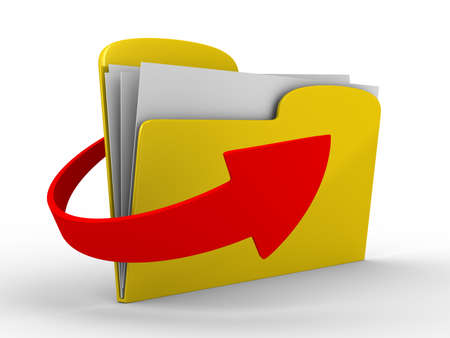 download folder: Yellow computer folder on white background. Isolated 3d image