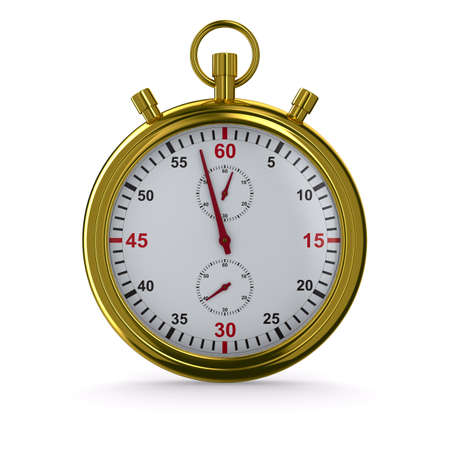 run off: Stopwatch on white background. Isolated 3D image