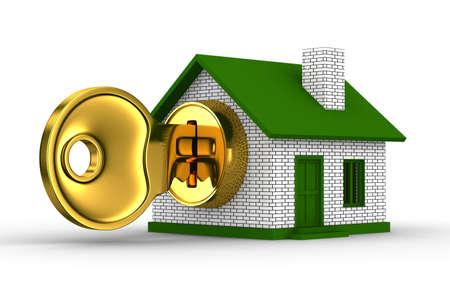 key and house on white background. 3D image photo