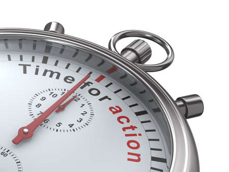 running off: Time for action. Stopwatch on white background. Isolated 3D image