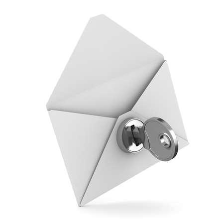 protegido: Concepto de correo electr�nico sobre fondo blanco. Imagen aislados 3D Foto de archivo