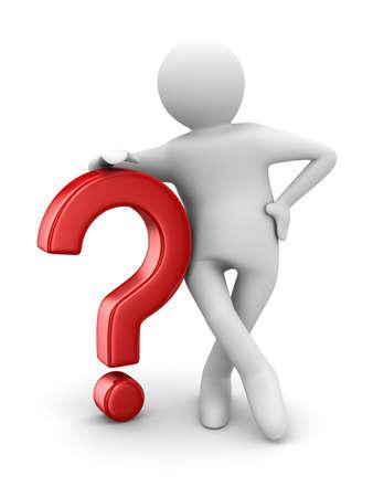 uncertain: hombre con pregunta sobre fondo blanco. Imagen aislados 3D Foto de archivo