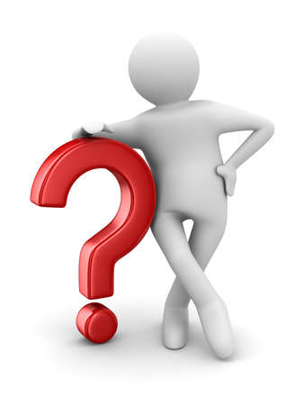 punctuation mark: man with question on white. Isolated 3D image Stock Photo