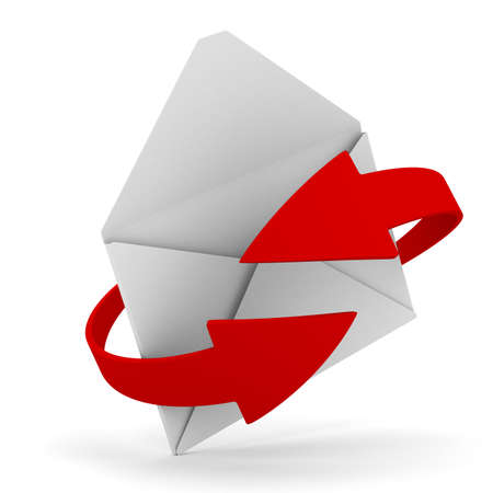 E-mail concept on white background. Isolated 3D image photo