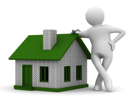Presentation of new house. Isolated 3D image Stock Photo - 8709287