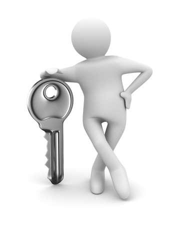 key and man on white background. 3D image Stock Photo - 8709286