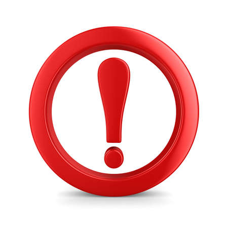 exclamation icon: Attention. traffic sign on white background. Isolated 3D image Stock Photo