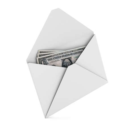 Money in envelope on white background. Isolated 3D image photo