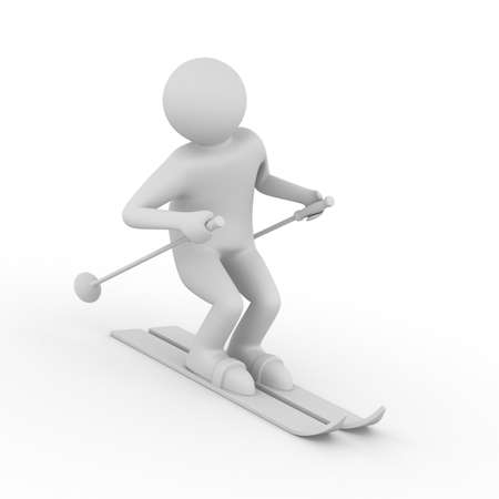 ski track: skier on white background. Isolated 3D image