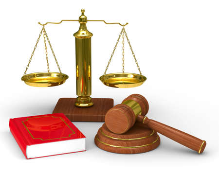 scale of justice: Scales justice and hammer on white background. Isolated 3D image Stock Photo