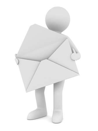 postman with open envelope. Isolated 3D image photo