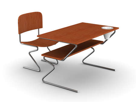 comfort classroom: School desk and chair. Isolated 3D image
