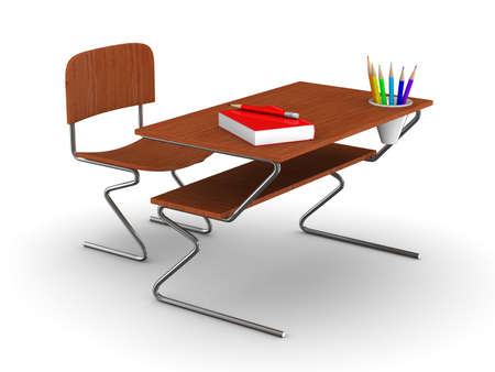School desk and chair. Isolated 3D image Stock Photo - 8779354
