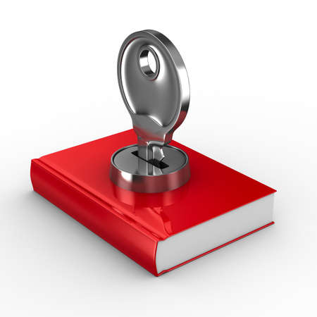 latch: Closed book on white background. Isolated 3D image