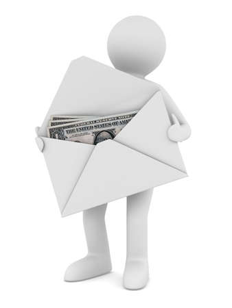 postman: Money in envelope on white background. Isolated 3D image Stock Photo