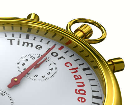 beat the clock: Time for change. Stopwatch on white background. Isolated 3D image